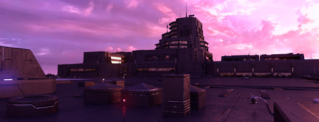 Fotomurales - Futuristic city with neon lights against pink clouds. Beautiful urban sunset. Wallpaper in a style of cyberpunk. 3D illustration.