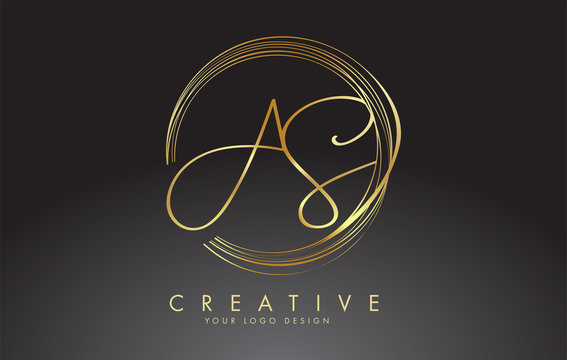 Handwritten Golden AS A S Letters Logo with a minimalist design. AS A S Sign with Golden Circular Circles.