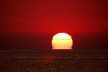 Foto auf Gartenposter Violett rot Silhouette Landscape Against Orange Sky
