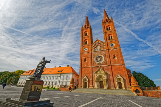 The basilica of St. Peter and the Strossmayer main square on a beautiful sunny day in Djakovo Croatia.
