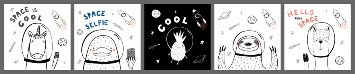 Spoed Fotobehang Illustraties Collection of cards, posters with cute funny animals, pineapple astronauts, rocket, planets, space quotes. Hand drawn childish vector illustration. Line drawing. Design concept for children print.