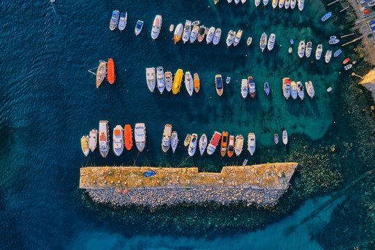 Aerial drone shot of the old town harbor Kase in Dubrovnik, Croatia Europe.