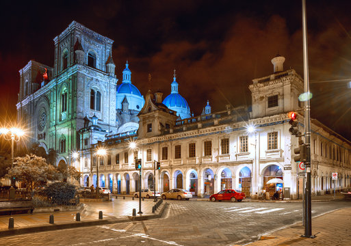 Cathedral of la Inmaculada Concepción, in downtown Cuenca, UNESCO World heritage site, Ecuador, at night.