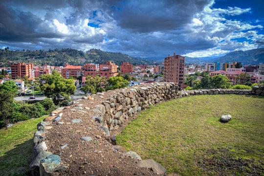 Pumapungo ruins, the ancient Inca city, in Cuenca, Ecuador, on a beautiful sunny afternoon.