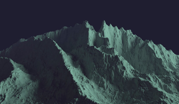 3D illustration - Mountain from another planet