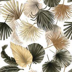 Tropical floral dried palm leaves seamless pattern white background. Exotic jungle wallpaper.