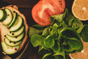 healthy sandwich with fresh vegetables
