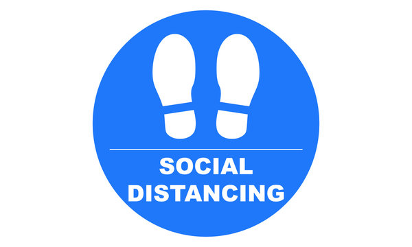 Social distancing illustration of feet to indicate or remind people to keep a minimum of 6ft to help prevent the spread of the covid-19 pandemic vector icon