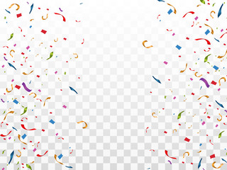 Colorful confetti fall on the podium. Realistic white podium with spotlights. First place. Vector illustration of a holiday. Wall mural