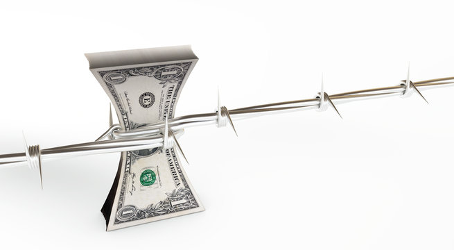 3d rendering of us dollars protected with barb wire