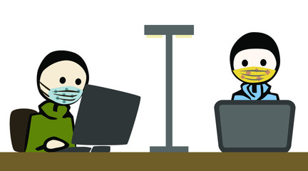 2 man_working_breathing mask_office_pc_notebook__by jziprian