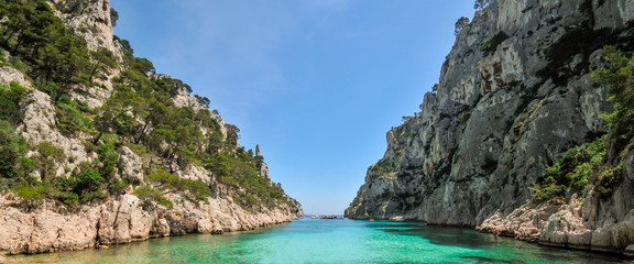 View from the beach of the Calanque d'En-Vau, panorama of the Calanques of Marseille. Fotomurales