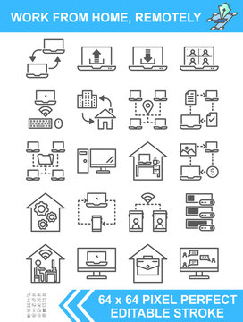 Working from home via IT equipment such as computers, smartphones, and laptops remotely. Vector illustration flat design. Editable stroke. 64 x 64 pixel perfect.