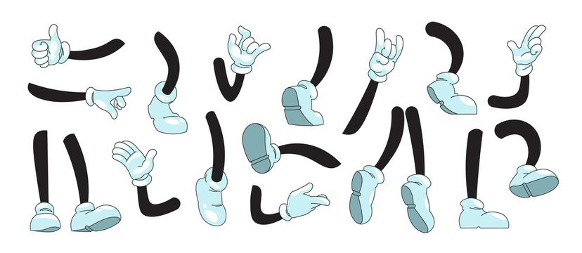 Cartoon arms and legs. Mascot doodle hands in white gloves showing gestures and feet in boots kicking running and standing. Vector illustration sketch comic collection