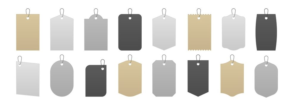Tag mockup. Realistic price labels and gift box cardboard tags, blank white gray and kraft carton sale stickers on strings. Vector isolated illustration set paper label with rope