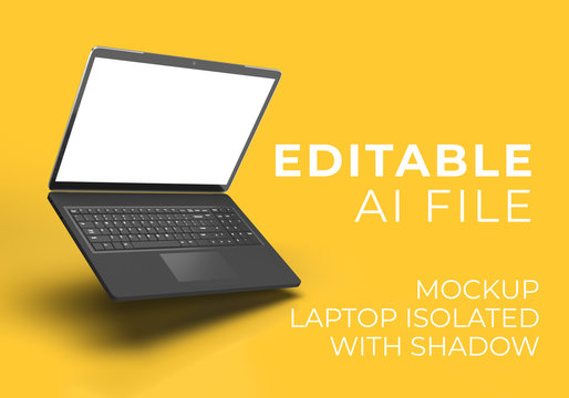 FLOATING Laptop MOCKUP ISOLATED IMAGE