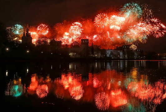 Fireworks explode behind the Novodevichy monastery marking Victory Day in Moscow