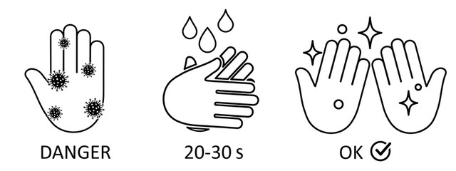 Wash hands process icon. Wash your hands for 20-30 seconds with soap to kill viruses and germs. Hygiene symbol, sign of washing hands. Coronavirus, covid-19 virus outbreak prevention - vector
