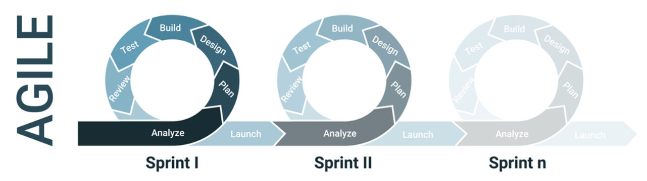 Agile lifecycle development, agile methodology, agile process diagram, software developers sprints infographic