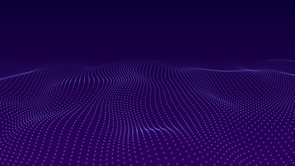 Fotobehang - Abstract background of moving particles. Futuristic dotted 3D wave. Big data. Vector illustration.