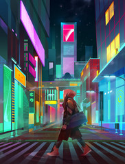 painted urban neon landscape of the future with man at night