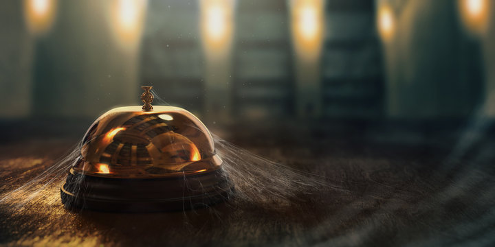 3D rendering of a concierge hotel bell with cobwebs