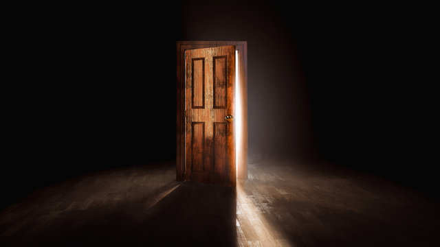 3D rendering of an open door with a bright light behind it