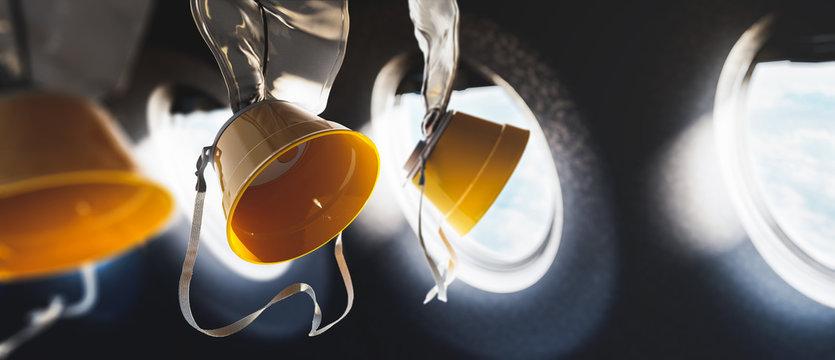 3D illustration of oxygen masks inside an airplane