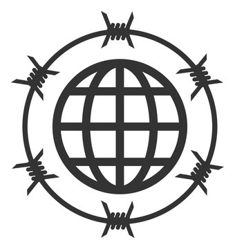 Vector global barbed wire flat icon. Vector pictograph style is a flat symbol global barbed wire icon on a white background.