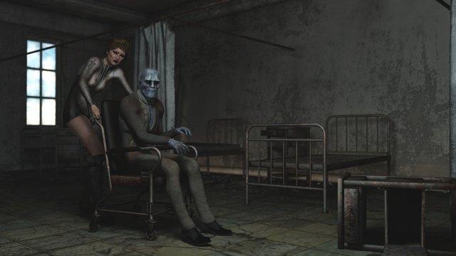Creepy 3d nurse and patient