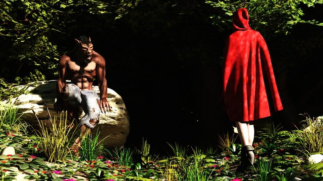 3D Little Red Riding Hood and the Werewolf