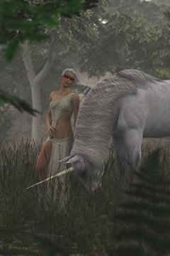 3D elf and unicorn on a foggy day