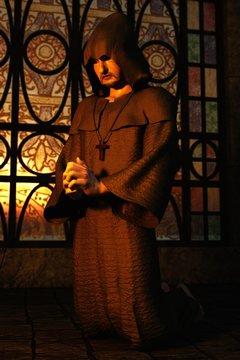 3D praying monk