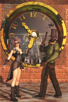 3D steampunk couple on clock tower