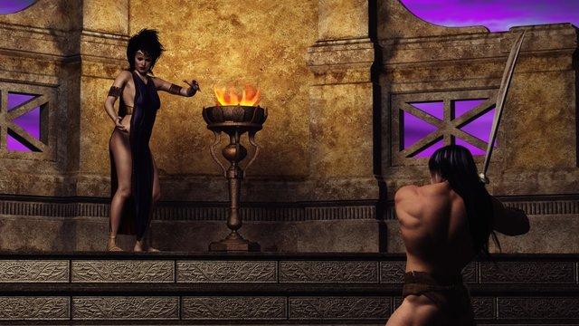 3D sorceress and warrior
