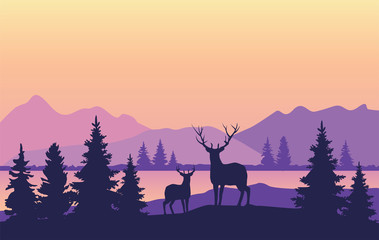 Vector Mountains Background with Deer