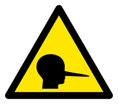 Vector liar flat warning sign. Triangle icon uses black and yellow colors. Symbol style is a flat liar attention sign on a white background. Icons designed for notice signals, road signs,