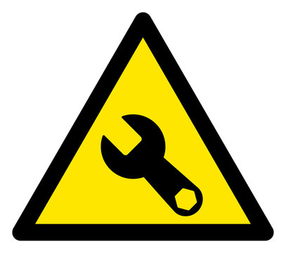 Vector wrench flat warning sign. Triangle icon uses black and yellow colors. Symbol style is a flat wrench hazard sign on a white background. Icons designed for problem signals, road signs,