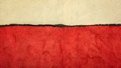 Photo on textile frame Red red, black and beige abstract paper landscape