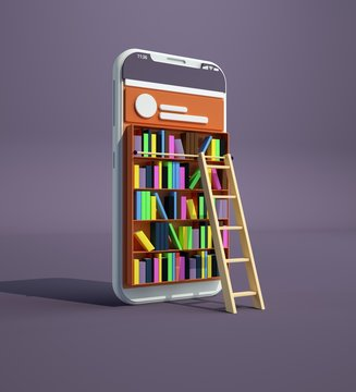 Online library. Smartphone turned into internet library. Concept of mobile education and e-library. Isometric media book library. E-book, reading an ebook to study on e-library. 3d rendering.