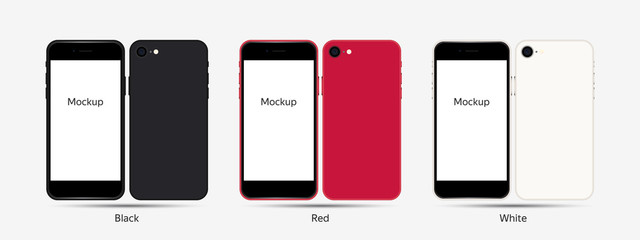 Realistic Smartphone Mockup Screen Template. Front and Back in Different Original Colors (black,red,white) for Web and App. Vector Style 2020