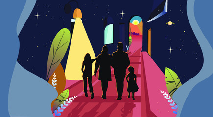 walking in dreams with my family. Get other way and new life. Good life to new horizont. Sprin to Summer.  Vector illustration Wall mural