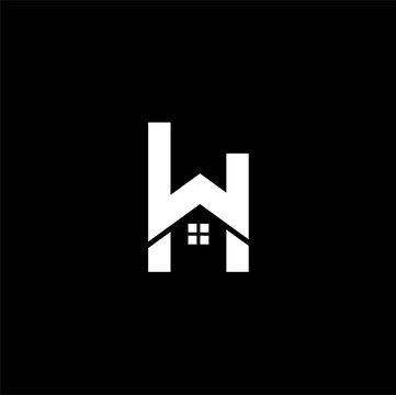 letter wh home logo design ,