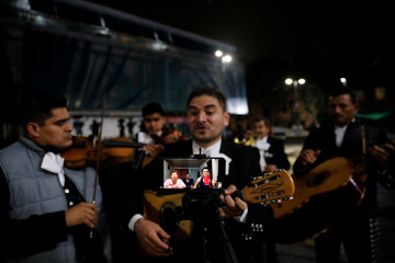 A Mariachi group performs for an online audience following a voluntary lockdown as the outbreak of the coronavirus disease (COVID-19) continues in Mexico City
