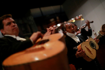 A Mariachi group perform for an online audience following a voluntary lockdown as the outbreak of the coronavirus disease (COVID-19) continues in Mexico City