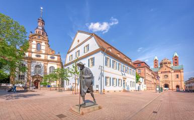 Speyer Pilgerfigur Fußgängerzone und Dom