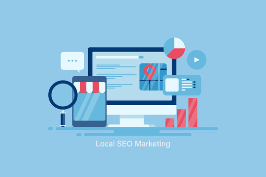 Local seo marketing, local business strategy, search engine marketing for local store, optimization strategy for local business listing, seo ranking, communication, technology.