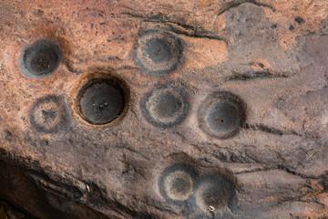 Aboriginal grinding hollows, historically used for food preparation, Kakadu National Park, Northern Territory, Australia