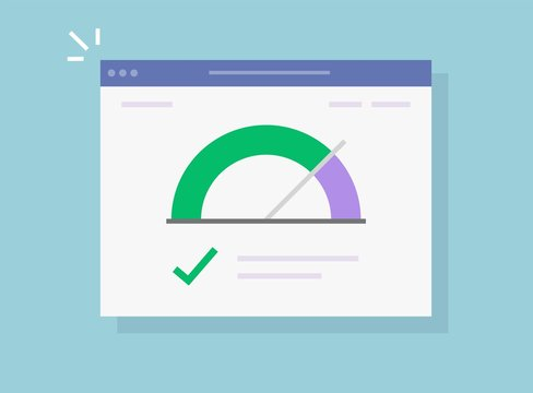 Speed of website vector internet page loading or fast seo optimization web site performance test check icon flat, concept of load time speedometer software tool for downloading score isolated