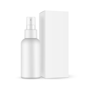 Spray bottle with transparent cap, paper box mockup isolated on white background. Vector illustration
